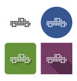 dotted icon pickup truck in four variants with vector image vector image