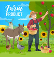 farmer fruits and vegetables harvest vector image vector image