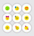 flat icon emoji set of love asleep tears and vector image vector image