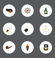 flat icons pirate armature vessel and other vector image vector image