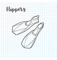 flippers diving equipment doodle style vector image vector image