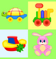 four playthings for children colorful poster vector image
