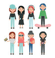 group girls youth urban style characters vector image vector image