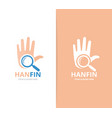 hand and loupe logo combination arm and vector image