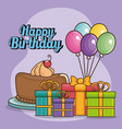 happy birthday card with giftboxes vector image vector image
