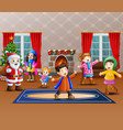 happy santa claus with some kids in the home vector image vector image