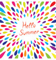 hello summer droplet background holiday card vector image