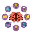 human brain creativity network innovation icons vector image vector image