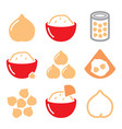 hummus or houmous chickpeas icons set vector image vector image