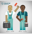 industrial workers flat style vector image vector image