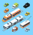isometric municipal transport set vector image vector image