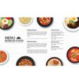 korean food menu restaurant on a white wooden vector image vector image