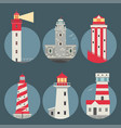 lighthouses flat searchlight towers vector image vector image