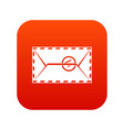 mail envelope with a stamp icon digital red vector image vector image