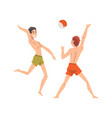 men in shorts playing beach volleyball male vector image vector image