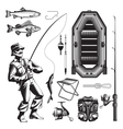 Monochrome Fishing Elements Set vector image vector image