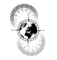 old watch world windrose symbol vector image vector image
