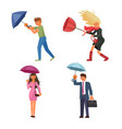 people holding umbrella under the rain vector image