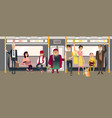 people in subway inside train sitting standing vector image