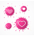 Pink Splash Heart Symbols Set Isolated on White vector image vector image