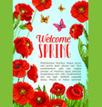 poster of flowers and welcome spring quotes vector image vector image