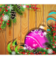 Purple Christmas ball on wooden background vector image vector image