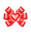 Red bow with heart ruby vector image vector image