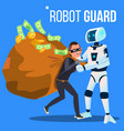 robot guard caught the thief in mask with his hand vector image