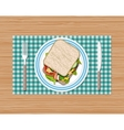 Sandwich on plate top view vector image vector image