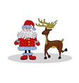 Santa Claus and deer isolated Xmas vector image