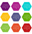 scolosaurus icons set 9 vector image vector image