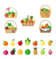 Set of baskets with fruits vector image