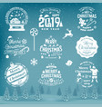 set of merry christmas and happy new year stamp vector image vector image