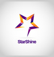shiny purple orange star sign symbol logo vector image vector image