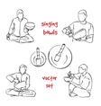Singing bowls musician set vector image vector image