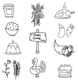 Thanksgiving set doodles hand draw vector image vector image