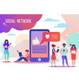 tiny people in smartphones watch social networks vector image vector image