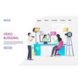 video blogging website landing page design vector image