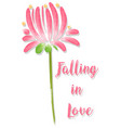 watercolor flower and word falling in love vector image
