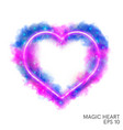 watercolor magic flaming heart with neon contour vector image