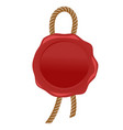 wax seal red stamp with rope vector image vector image