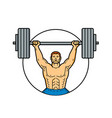 weightlifter lifting barbell mono line art vector image vector image