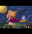 witch flying on a broomstick background vector image