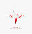 world blood donor day heartbeat icon glass vector image