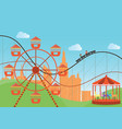 amusement park in flat colorful with the ferris vector image