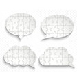 Abstract speech bubbles with pieces of paper