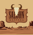 banner for western saloon with a skull bull vector image vector image