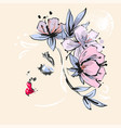beautiful girl profile with pink flowers spring vector image vector image
