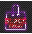 black friday neon text in frame in form of bag vector image vector image