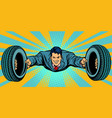businessman flying car tires service vector image